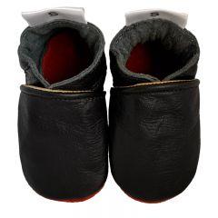 babyslofjes Bred Diva zwart met rode zool