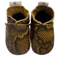 Babyslofjes slangenprint bruin met zwarte zool
