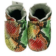 Babyslofjes slangenprint in jamaicaanse kleuren