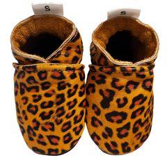 Babyslofjes leopard print met zwarte zool voorkant