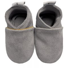 Babyslofjes effen grijs suede