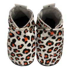 Witte slofjes met Leopard print en zwart suede zool voorkant 1 paar