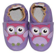 babyslofjes met paarse uil
